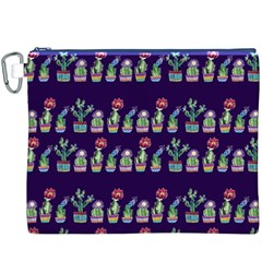 Cute Cactus Blossom Canvas Cosmetic Bag (xxxl)