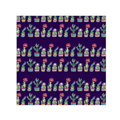 Cute Cactus Blossom Small Satin Scarf (Square)
