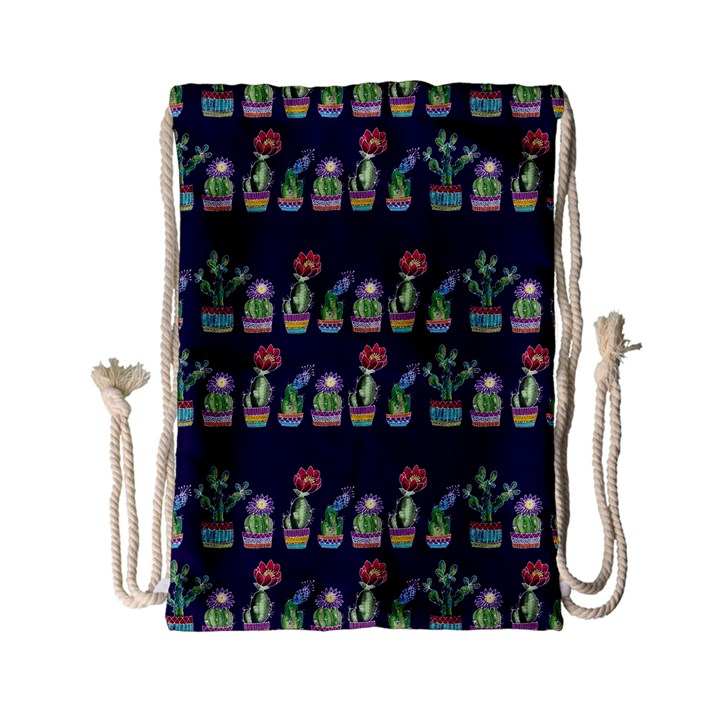 Cute Cactus Blossom Drawstring Bag (Small)