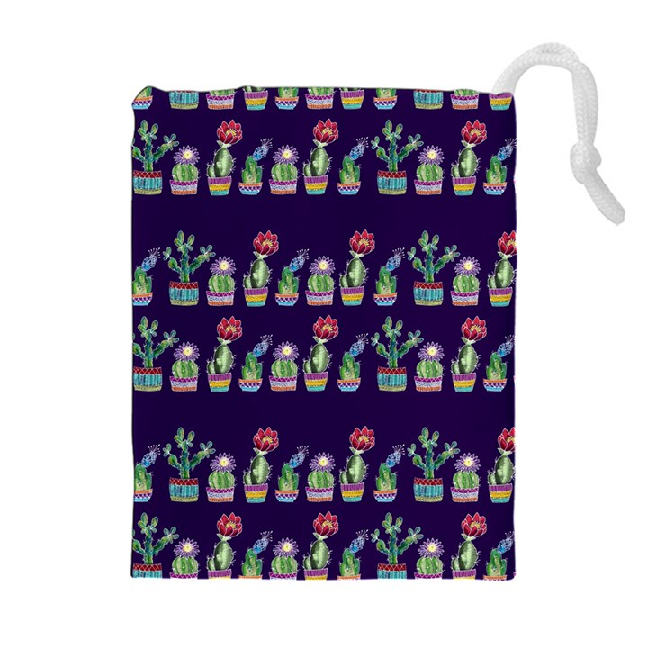 Cute Cactus Blossom Drawstring Pouches (Extra Large)