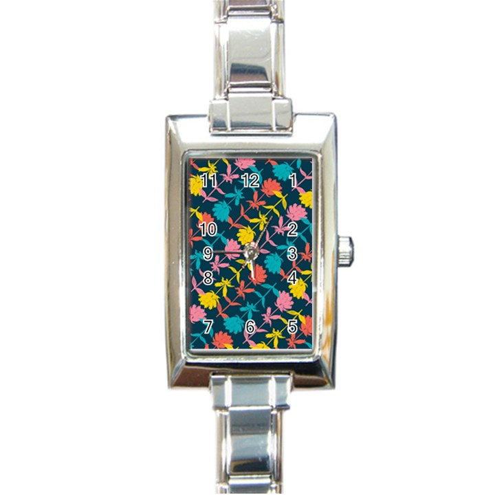 Colorful Floral Pattern Rectangle Italian Charm Watch