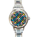 Colorful Floral Pattern Round Italian Charm Watch Front