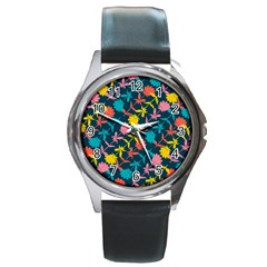 Colorful Floral Pattern Round Metal Watch
