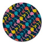 Colorful Floral Pattern Round Mousepads Front