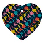 Colorful Floral Pattern Ornament (Heart)  Front