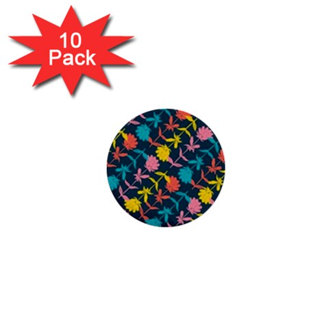 Colorful Floral Pattern 1  Mini Buttons (10 pack)