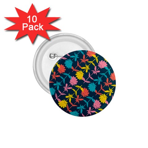 Colorful Floral Pattern 1.75  Buttons (10 pack)