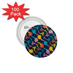 Colorful Floral Pattern 1 75  Buttons (100 Pack)
