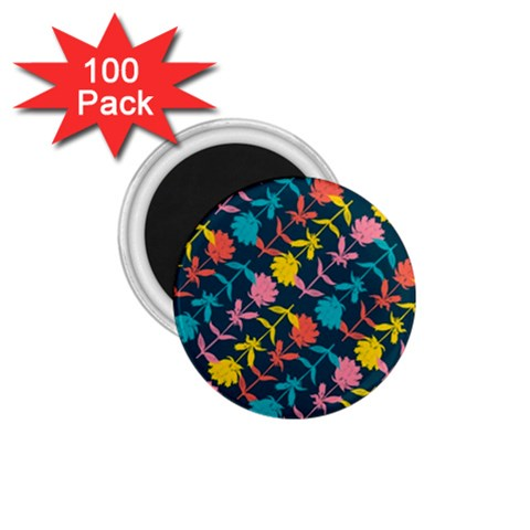 Colorful Floral Pattern 1.75  Magnets (100 pack)
