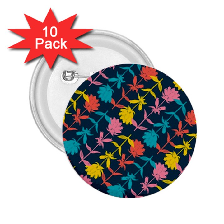 Colorful Floral Pattern 2.25  Buttons (10 pack)