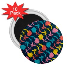 Colorful Floral Pattern 2.25  Magnets (10 pack)