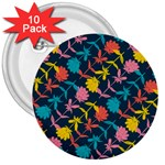 Colorful Floral Pattern 3  Buttons (10 pack)  Front