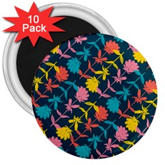 Colorful Floral Pattern 3  Magnets (10 pack)