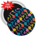 Colorful Floral Pattern 3  Magnets (100 pack) Front