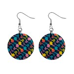 Colorful Floral Pattern Mini Button Earrings Front