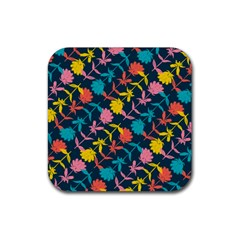 Colorful Floral Pattern Rubber Coaster (square)