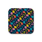 Colorful Floral Pattern Rubber Coaster (Square)  Front