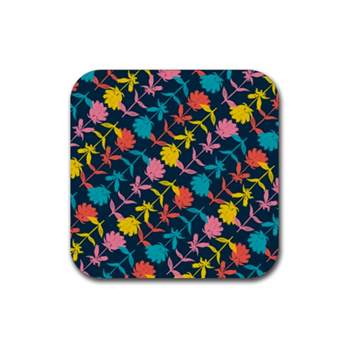 Colorful Floral Pattern Rubber Square Coaster (4 pack)