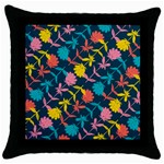 Colorful Floral Pattern Throw Pillow Case (Black) Front