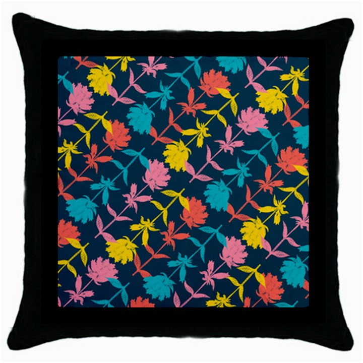 Colorful Floral Pattern Throw Pillow Case (Black)