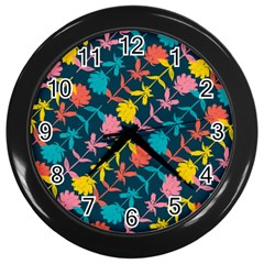 Colorful Floral Pattern Wall Clocks (Black)