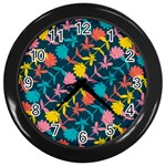 Colorful Floral Pattern Wall Clocks (Black) Front