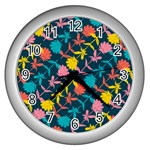 Colorful Floral Pattern Wall Clocks (Silver)  Front