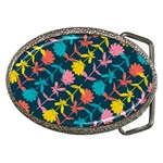 Colorful Floral Pattern Belt Buckles Front