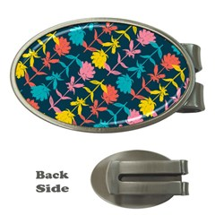 Colorful Floral Pattern Money Clips (oval)