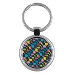 Colorful Floral Pattern Key Chains (Round)  Front