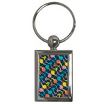 Colorful Floral Pattern Key Chains (Rectangle)  Front