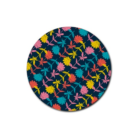 Colorful Floral Pattern Rubber Coaster (Round)