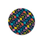 Colorful Floral Pattern Rubber Coaster (Round)  Front