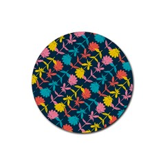 Colorful Floral Pattern Rubber Round Coaster (4 Pack)