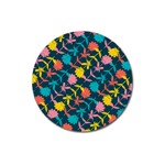 Colorful Floral Pattern Magnet 3  (Round) Front