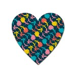 Colorful Floral Pattern Heart Magnet Front
