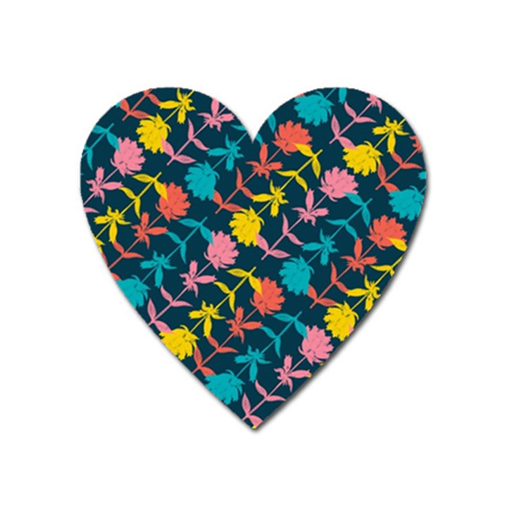 Colorful Floral Pattern Heart Magnet