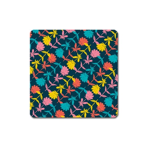 Colorful Floral Pattern Square Magnet