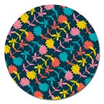 Colorful Floral Pattern Magnet 5  (Round) Front