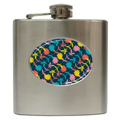 Colorful Floral Pattern Hip Flask (6 oz)