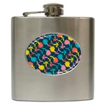 Colorful Floral Pattern Hip Flask (6 oz) Front