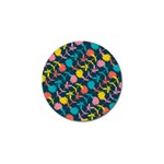 Colorful Floral Pattern Golf Ball Marker Front