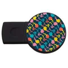 Colorful Floral Pattern USB Flash Drive Round (2 GB)