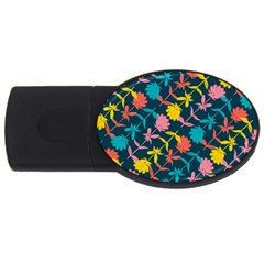 Colorful Floral Pattern USB Flash Drive Oval (1 GB)