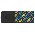Colorful Floral Pattern USB Flash Drive Rectangular (1 GB)  Front