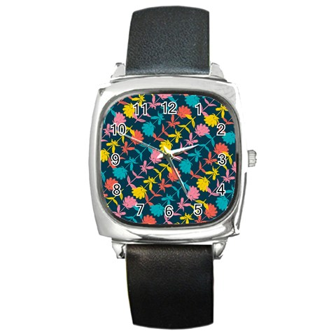 Colorful Floral Pattern Square Metal Watch