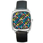Colorful Floral Pattern Square Metal Watch Front
