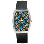 Colorful Floral Pattern Barrel Style Metal Watch Front