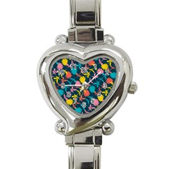 Colorful Floral Pattern Heart Italian Charm Watch