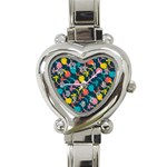 Colorful Floral Pattern Heart Italian Charm Watch Front